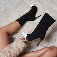 Elastic Socks Ankle Boots With Slip-On Thin Heels
