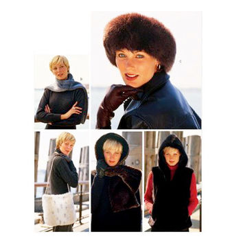 Womens HAT VEST HEADWRAP Pattern Headband Scarf Bag Pattern Faux Fur Hat Headwear Med Lrg Butterick 3311 Accessories Sewing Patterns UNCuT