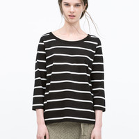 3/4 sleeve striped t-shirt