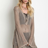 Crochet Knit Long Tunic Top