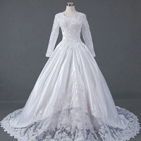 A-line/Princess Long sleeve Cathedral Train Satin Lace  Wedding Dresses With Ruffle Beading Free Shipping