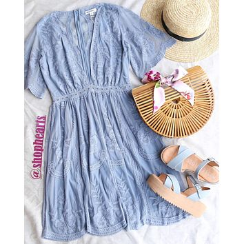as you wish embroidered lace dress - dusty blue