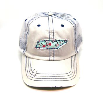 Tennessee Trucker Hat - Distressed - Floral Fabric State Cutout