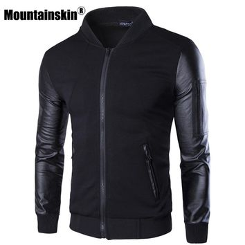 Mountainskin Bomber Jacket Men's Coats Patchwork Leather Men Outerwear Autumn Slim Fit 2017 Brand Male Motorcycle Jackets SA003