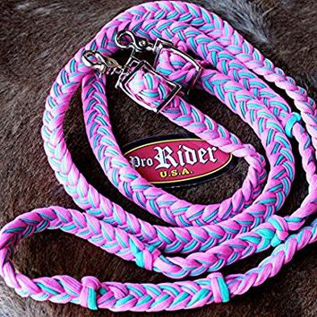 Horse Roping Knotted Tack Western Barrel Reins Nylon Braided PINK REIN 607210