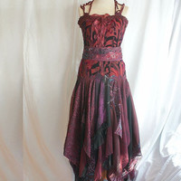Romantic Tattered Bridesmaid Dress Wine Grape Beet Upcycled Woman's Clothing Funky Style Shabby Chic Eco Friendly Style Upcycled Clothig