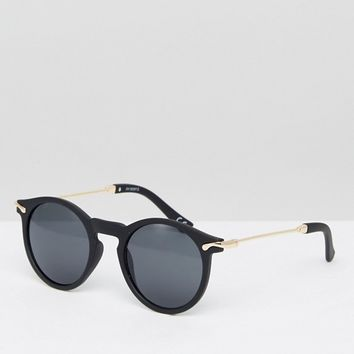 ASOS Round Sunglasses With Metal Arms at asos.com