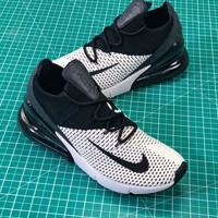 Nike Air Max 270 Flyknit White Black Sport Running Shoes - Best Online Sale