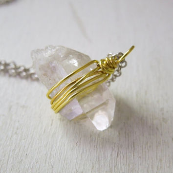 Clear Quartz Point Necklace - Nautral Quartz Lemon Yellow Wire Wrapped Pendant Necklace Silver Chain stone no.4