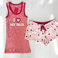 I LOVE MY BED PAJAMA SET - PINK