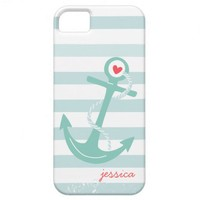 Girly Baby Blue Striped Nautical Anchor Personaliz from Zazzle.com