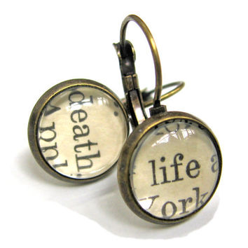 Life and Death Reclaimed Library Card Word Earrings Patina Brass