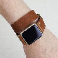 Apple Watch Band Double Tour Strap | Double Wrap Leather | 38mm Apple Watch Women | 42mm iWatch Strap | Horween English Tan | Metal Loops