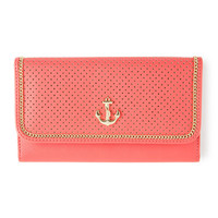 Coral Perforated Faux Leather Wallet with Gold Anchor Emblem