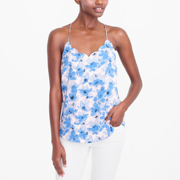 Printed scalloped cami top