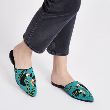 Black toucan seedbead backless loafers - Shoes - Shoes & Boots - women
