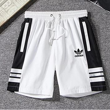 ADIDAS Summer Popular Women Men Breathable Clover Sport Running Shorts White