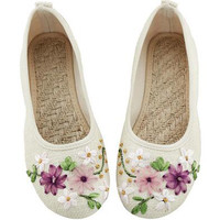 2016 Spring Retro Style Shoes Women Old Peking Flats Chinese Flower Embroidery Canvas Linen Shoes sapato feminino Big Size 42