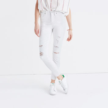 "9"" High-Rise Skinny Crop Jeans in Pure White: Destructed Edition"