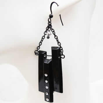 Black Pendant Dangle Earrings Handmade by Lindsey - Argent Silver Swarovski Crystals - Black Cord Chain - Halloween - Christmas