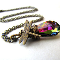 Dragonfly Necklace Rainbow Crystal Fairy Angel Archangel Swarvoski Vitrail Necklace