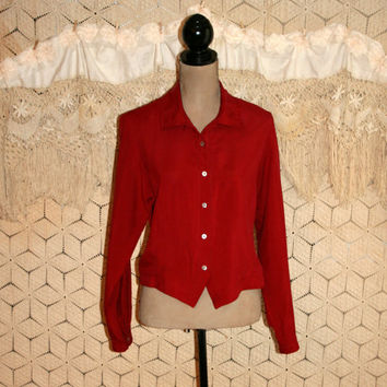 Red Silk Blouse Long Sleeve Red Blouse Christmas Blouse Red Blouse Long Sleeve Blouse Dressy Button Up Blouse Medium Large Womens Clothing