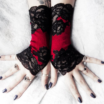 Lorn Long Lace Fingerless Gloves - Black Bordered Floral Scroll w/ Deep Dark Red Burgundy - Victorian Wedding Gothic Burlesque Goth Bridal