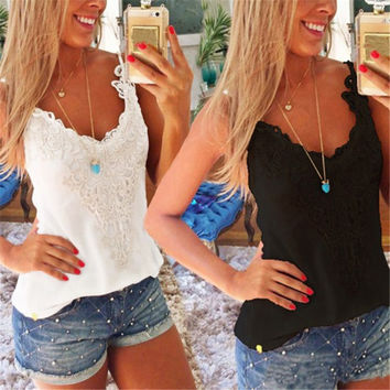 New Summer Womens Sexy Lace Crochet  Camisole Sleeveless Blouses Tank Tops