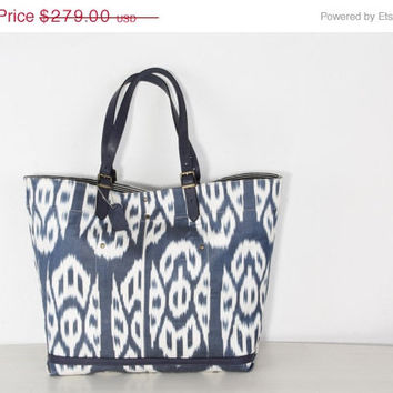 ON SALE-30% OFF Big Size Ikat Bag handmade from navy blue and white colors and fine leather straps - Elegant Shoulder Bag for Ladies