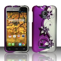 4-in-1 Bundle - Case, Screen Protector,Opener and Stylus Pen for Zizo (TM) Rubberized Purple Silver Vines flower Snap on Design Case Hard Case Skin Cover Faceplate- Alcatel One Touch Fierce / 7024T (T-Mobile)