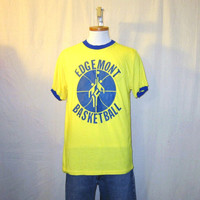Vintage Rare 60s BASKETBALL GRAPHIC RINGER Edgemont Soft Thin Large Orlon Acrylic T-Shirt