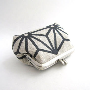 Coin Purse - Frame Mini Pouch Mini Jewelry Case with Ring Pillow - Charcoal star print by Piano Nobile