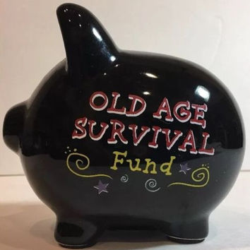 "Amscan Ceramic Coin Black Piggy Bank Old Age Survival Fund 4 3/4"" H x 5"" L"