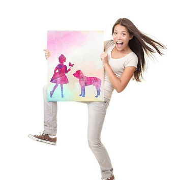 Girl with dog Pets gift Custom portrait Silhouettes Pastel art Dog print Pet artwork Dog breeds artwork  Dog poster ArtPrintsByChrista
