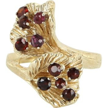 Vintage Garnet Double Flower Cocktail Ring 14 Karat Yellow Gold Estate Fine Jewelry
