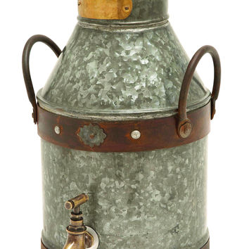 Metal Galvanized Milk Can With Rust Finished Handles