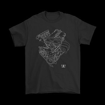 Mazda Miata First Generation Engine Blueprint Illustration T-shirt