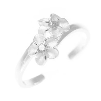 925 Sterling Silver Hawaiian Double Plumeria Flower White CZ Open Toe Ring
