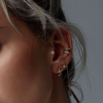 Star Cubic Zirconia Earrings Silver Gold Plated