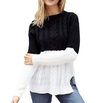 Black White Colorblock Cable Knit Sweater