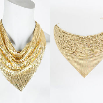 Vintage 70s Necklace / 1970s Whiting and Davis Gold Mesh Disco Cowl Necklace