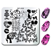 Kissing Design Nail Art Stamp Template Plates BORN PRETTY Nail Stamping Plates 6*6cm Square Image for DIY BP-X08