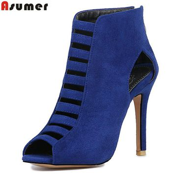 Asumer 2017 summer hot sale new arrive women pumps fashion zipper peep toe flock super high hels shoes