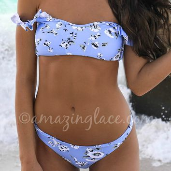 AMUSE SOCIETY Blue Floral Print Skimpy Swim Bottoms