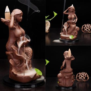 Beauty of Ancient Ceramic Incense Burner Mermaid Burners Candle Incense Aromatherapy Incense Burners