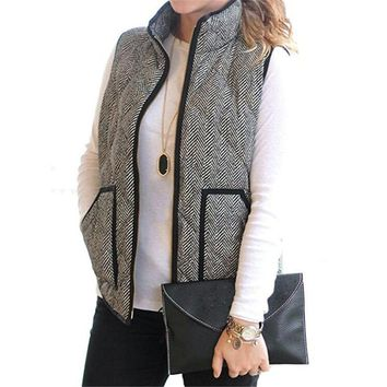women s fall slim quilted herringbone puffer vest with zipper  number 1