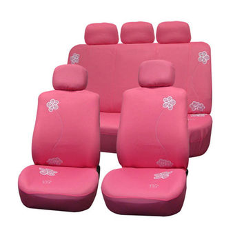FH Group Pink Flower Embroidery Airbag-safe Fabric Seat Covers | Overstock.com Shopping - The Best Deals on Car Seat Covers