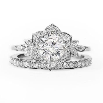 Lilly Rose Flower Diamond Engagement Ring from SillyShinyDiamonds