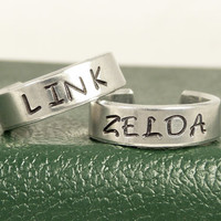 Link and Zelda Ring Set - Best Friends - Couples Ring Set