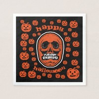 Happy Halloween - Grinder Teeth Skull 2 Paper Napkin